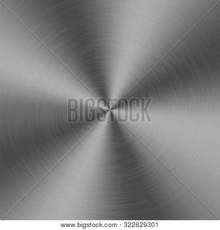 Chrome Silver Metallic Radial Gradient With Scratches. Titan, Steel, Chrome, Nickel Foil Surface Tex