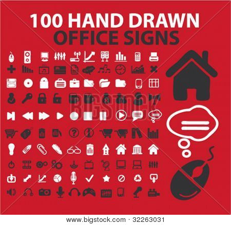 100 hand drawn office signs, icons, vector