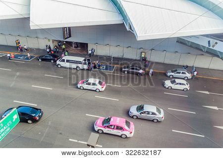 Mexico City, Mexico - October 8, 2016: Cars In Front Of Mexico City International Airport.