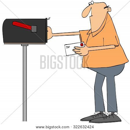 Illustration Of A Man Putting A Stamped Letter In A Rural Mailbox.