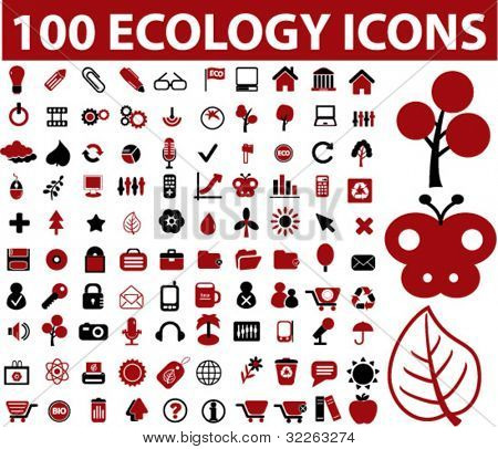 100 ecology icons, signs, vector illustrations