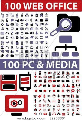 200 web office & pc & media icons, signs, vector illustrations