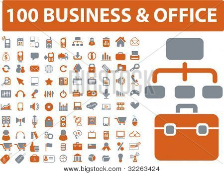 100 business & office icons, signs, vector illustrations
