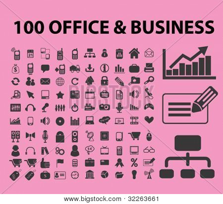 100 office & business icons, signs, vector illustration
