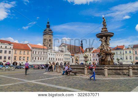 Ceske Budejovice, Czech Republic - June 14, 2016: View Of Premysl Otakar Ii. Square In Ceske Budejov