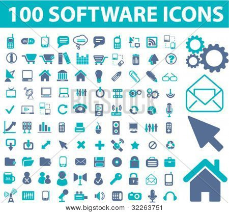 100 software icons, signs, vector