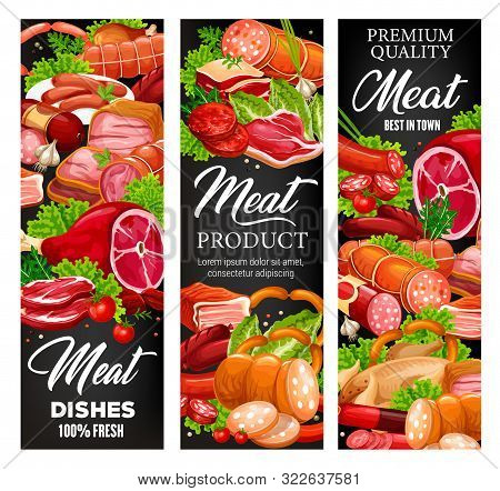 Meat And Sausages, Butcher Shop Food Products And Gourmet Delicatessen. Vector Butchery Pork, Beef M