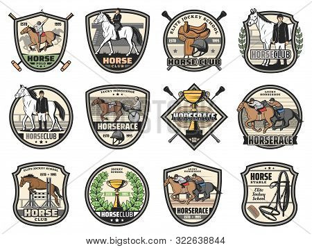 Horse Races And Equine Sport Club Icons. Vector Jockey Polo Club Tournament, Horse Racing In Carriag