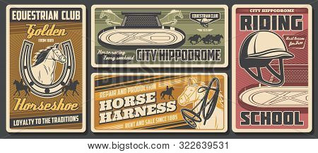 Jockey Horse Derby Race, Equestrian Club And Equine Riding Sport School. Vector Equestrian Sport, Po