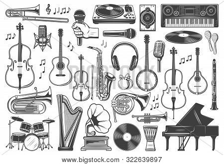 Musical Instrument Icons, Jazz And Orchestra Music. Vector Recording Studio Synthesizer Equipment, P