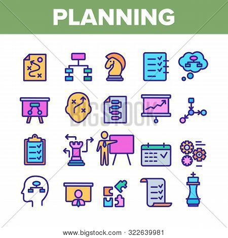 Planning Collection Elements Vector Icons Set Thin Line. Chess Figures And Presentation, Mechanism G
