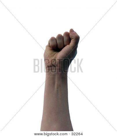 Upraised Fist On White