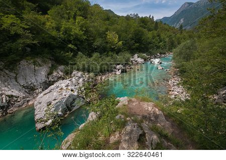 Wonderful View Of Soca River Valley In Slovenia