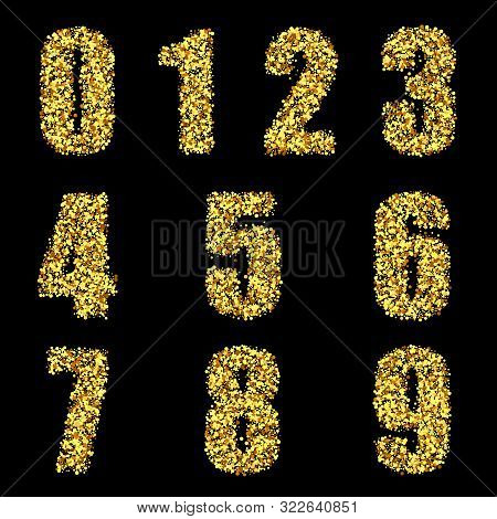 Set Of Stylized Gold Textured Numbers With Metallic Sheen