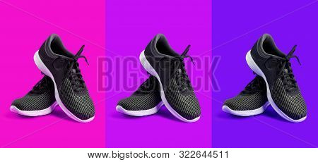poster of Sport shoes isolated on a colored background: yellow, orange, red. Black sneakers running shoes. Casual shoes. Youth style. Shoes for fitness, running, yoga.