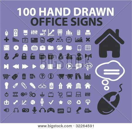 100 hand drawn office icons, signs, vector illustrations