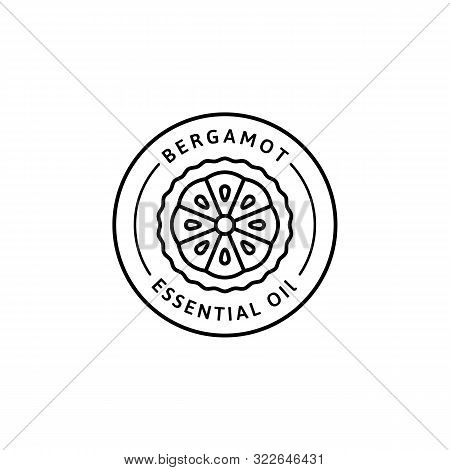 Bergamot Citrus Essential Oil Icon In Trendy Linear Style. Vector Herbal Organic Bergamot Badges Of