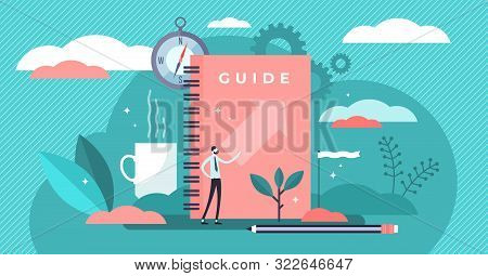 Guide Vector Illustration. Flat Tiny Technical Faq Information Persons Concept. Abstract Search And