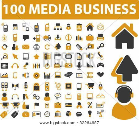 100 mega business icons, signs, vector illustrations
