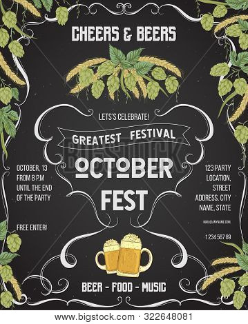 October Fest Beer Festival. Cheers And Beers Invitation With Hop, Wheat And Glasses Of Beer On Chalk
