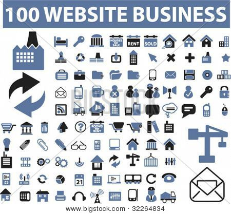 100 website business icons, signs, vector illustrations