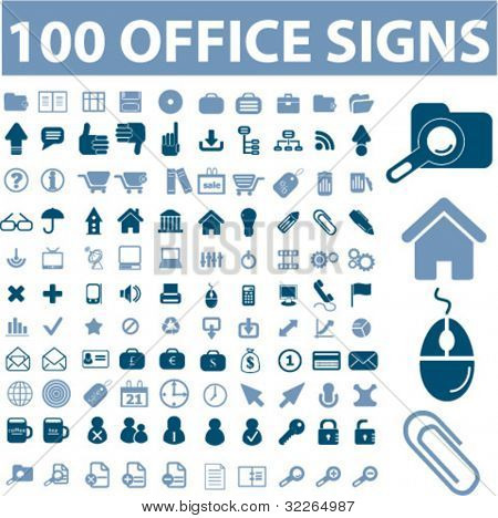 100 office icons, signs, vector illustrations set