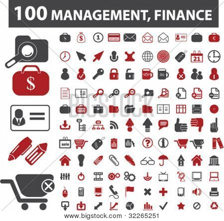 100 management, finance icons, signs, vector illustration