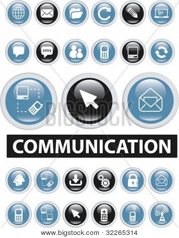 communiction buttons, icons, signs, vector illustrations
