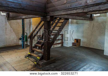 Ceske Budejovice, Czech Republic - June 14, 2016: Interior Of The Black Tower Cerna Vez In Ceske Bud
