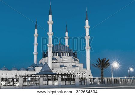 Hala Sultan Camii Mosque In Nicosia, North Cyprus At Evening Time. Muslim Religion.