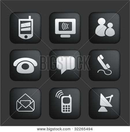 connection & internet square black web buttons, icons, signs, vector