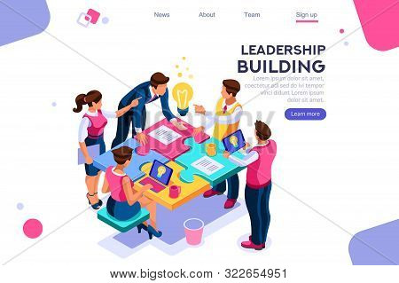 Leadership Unity. Leader And Business Puzzle Construction. Process Support Concept, Can Use For Web