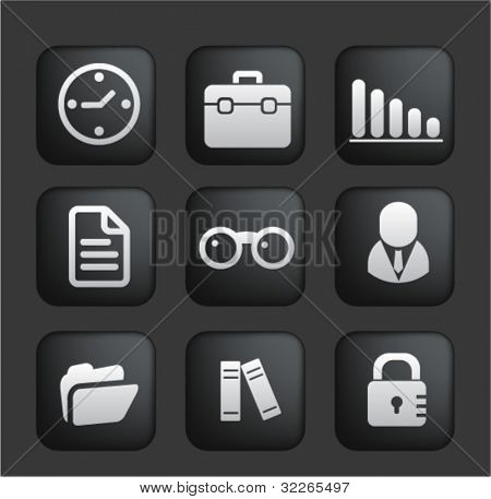 business & office square black web buttons, icons, signs, vector