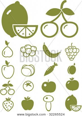 fruits & vegetables icons, signs, vector illustrations