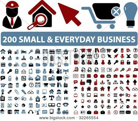 200 small & everyday business icons, signs, vector illustrations