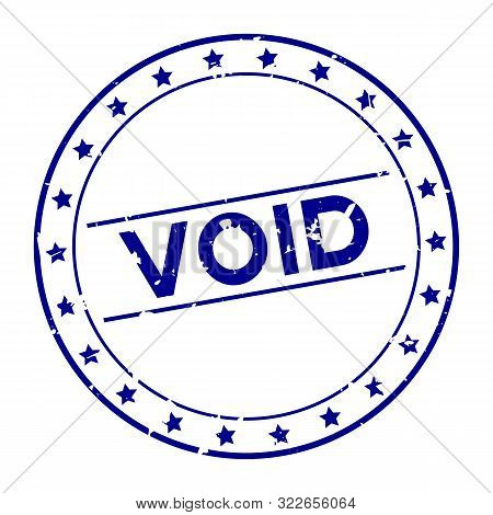 Grunge Blue Void Word With Star Icon Round Rubber Seal Stamp On White Background