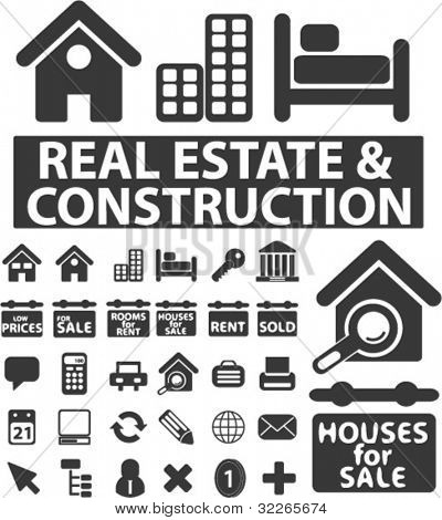 real estate icons set, signs, vector
