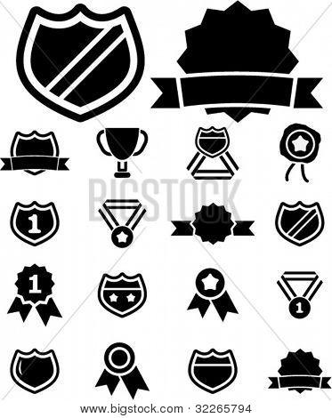 award icons set, vector illustrations