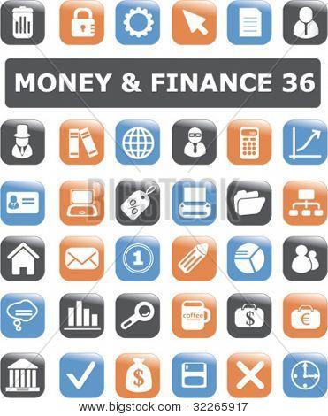 money & finance buttons set, vector illustration