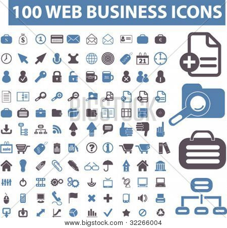 100 web business icons set, vector