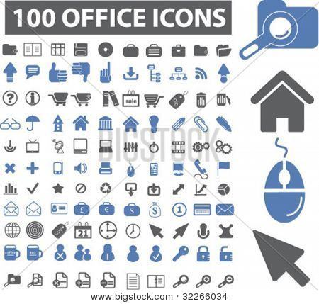 100 office icons set, vector illustrations
