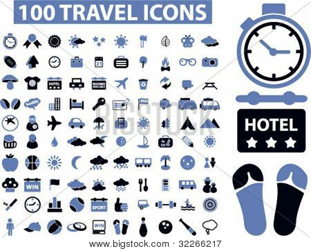 poster of 100 travel icons set,vector