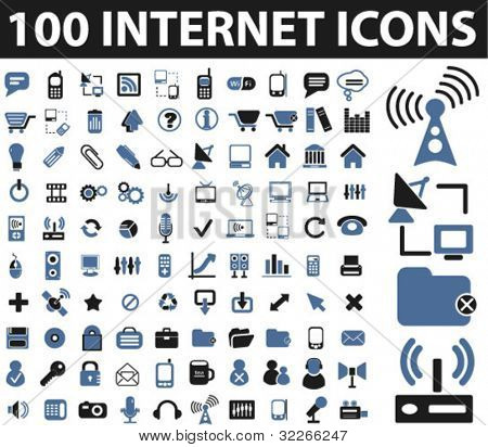 100 internet icons set, vector