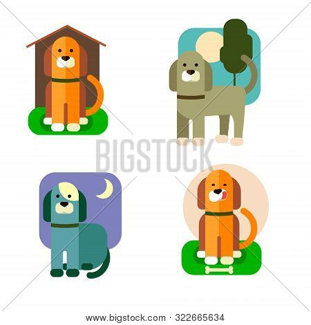 Cartoon Dog At Different Times Of The Day