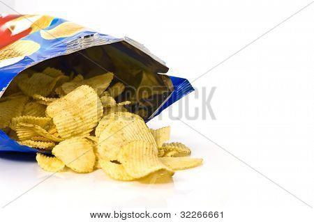 Potato chips and bag