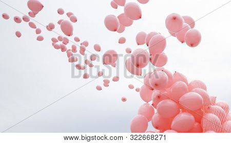 Hundreds Of Pink Balloons Are Released In Memory Of Women Passed Away Because Of Breast Cancer Last