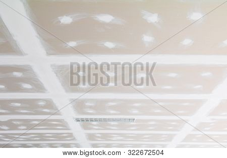 Gypsum Board Ceiling Structure And Plaster Mortar Wall Painted Foundation White Decorate Interior Ro