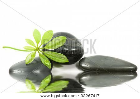 Spa stones, leaf with waterdrop and reflection
