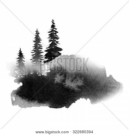 Big Gray Spot With Fir Trees, Monochrome Watercolor Illustration, Hand Drawing