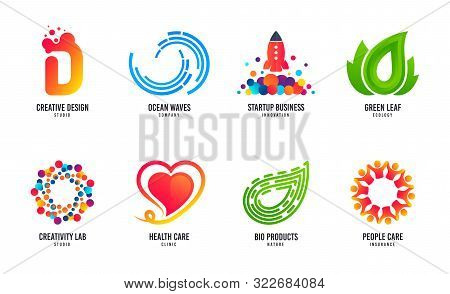 Wave Logo Design. Surfing Company, Bio Products, Health Care Vector Icon. Design Studio Logo. Busine